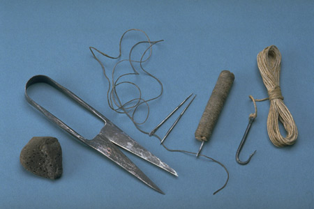 Postcard of Grave goods (reconstruction).