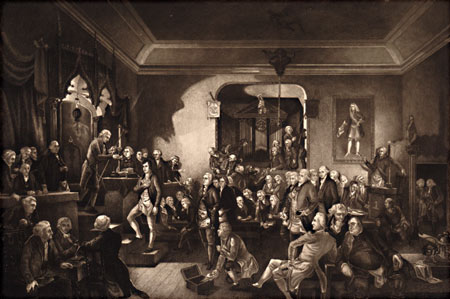 Postcard of Engraving, The Inauguration of Robert Burns.