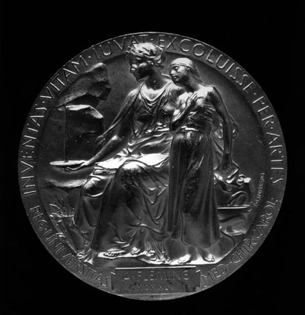 Postcard of Medal for the Nobel Prize for Medicine.