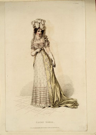 Postcard of Fashion plate, from The Repository of Arts.