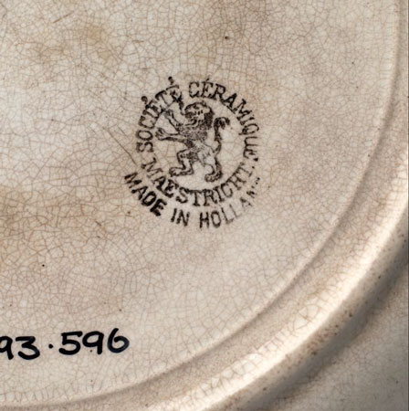 Postcard of Dinner plate (detail).