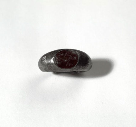 Postcard of Signet ring of silver and cornelian.