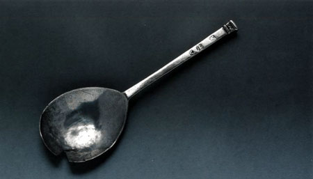 Postcard of Silver spoon known as the 'Cunningham seal-top'.