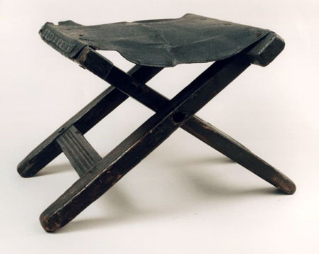 Postcard of Folding camp-stool, associated with Jenny Geddes.
