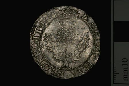 Postcard of Coin (Reverse), thistle merk, from reign of James VI.