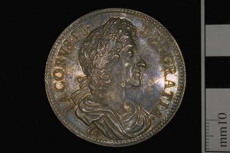 Postcard of Silver coin (obverse) with a portrait of King James VII (II of England).