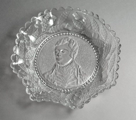 Postcard of Glass plate with a portrait of Robert Burns.