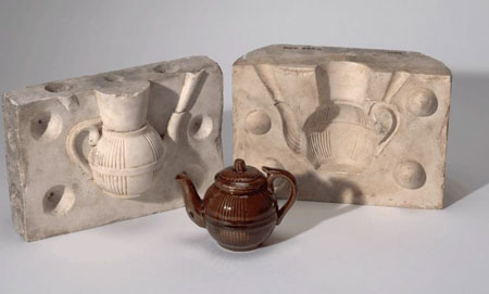 Postcard of Teapot & mould, made at Prestonpans, East Lothian.