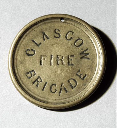 Postcard of Badge, of City of Glasgow Fire Brigade.