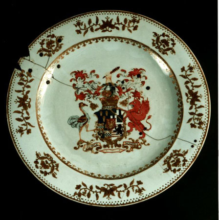 Postcard of Porcelain plate with the arms of the Earl of Buchan.