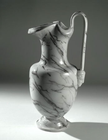 Postcard of Earthenware ewer with a marbled glaze.