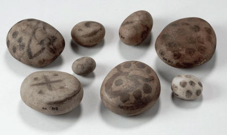 Postcard of Painted pebbles.