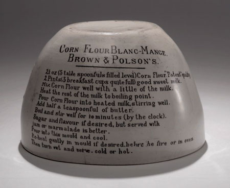 Postcard of Blancmange mould with a recipe.