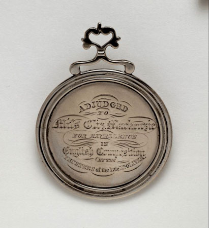 Postcard of Medal (obverse) of Selkirk Grammar School, Borders.