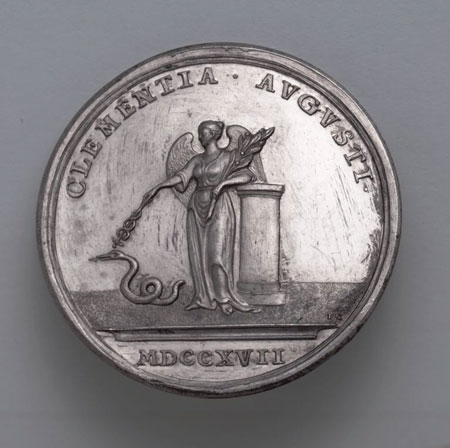 Postcard of Medal (reverse), commemorating the Act of Grace of 1717.