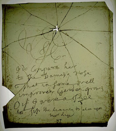 Postcard of Pane of glass, inscribed with a poem attributed to Robert Burns.