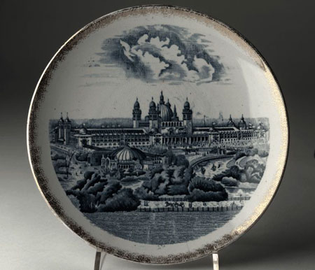 Postcard of Plate, commemorating Glasgow International Exhibition, 1901.