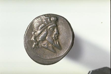 Postcard of Coin (obverse), Denarius, of Quintus Titius.