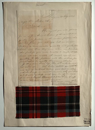 Postcard of Letter & tartan sample, associated with William Wilson & Sons, Bannockburn, near Stirling.