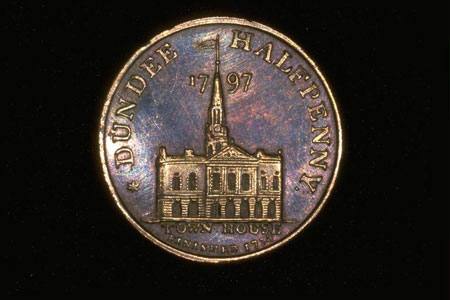 Postcard of Trade token (obverse), Halfpenny (proof), of John Pilmer, Dundee, Angus.
