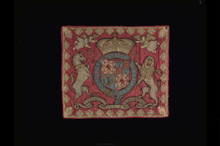 Postcard of Trumpet banner, with Royal Arms of Charles II.