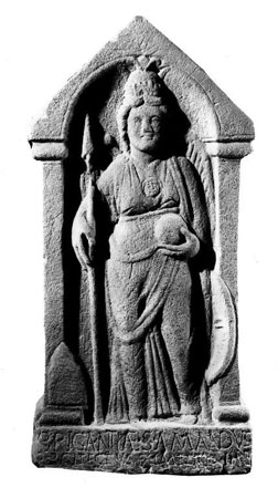 Postcard of Sculpture, of Goddess Brigantia.