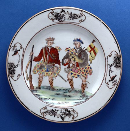 Postcard of Chinese porcelain plate with images of Highland soldiers, made for the European market.