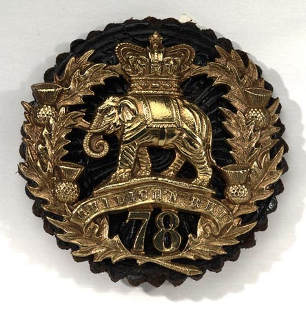 Postcard of Bonnet badge of the 78th Regiment of Foot.