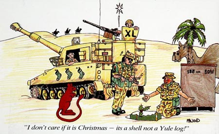 Postcard of Christmas card showing a Gulf War cartoon.