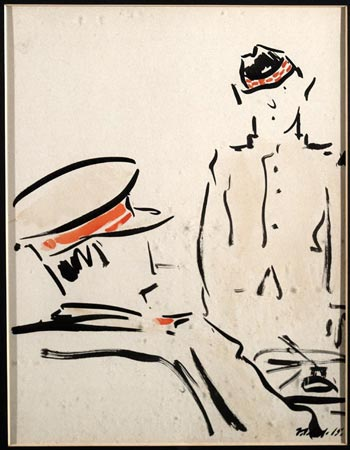 Postcard of 'Appearing before an Officer', by F.C.B. Cadell.