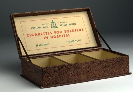 Postcard of Cigarette collecting box, World War II.