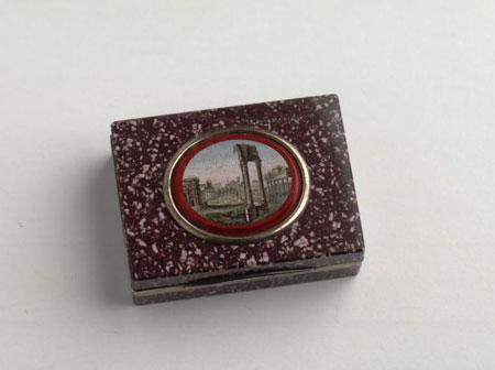 Postcard of Snuffbox, with micromosaic of Forum Romanum.