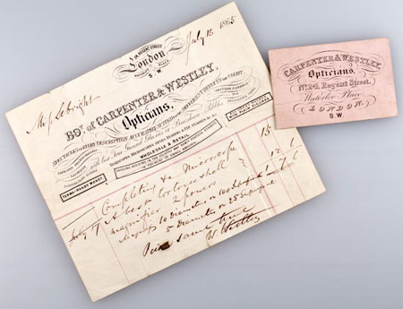 Postcard of Trade card and receipt, for microscope sold by Carpenter & Westley.