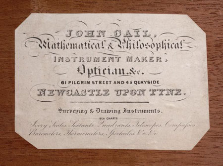 Postcard of Microscope retailer's card (detail).