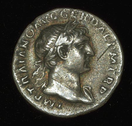 Postcard of Coin (obverse), Denarius, of Titus.