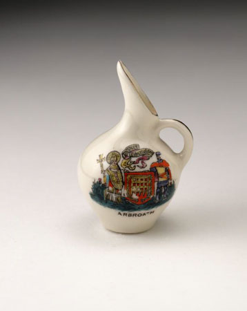 Postcard of Miniature ewer, with Arbroath coat of arms.