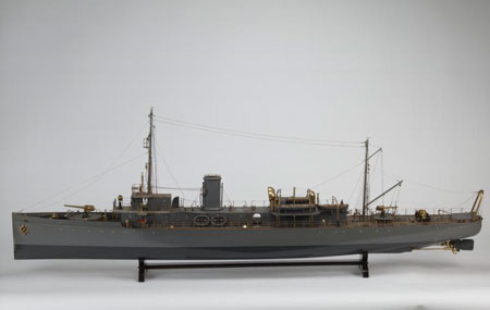 Postcard of Model, of minesweeper HMS Carstairs.