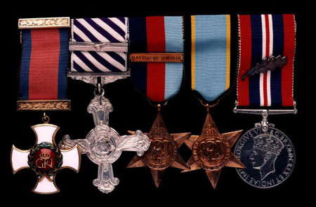 Postcard of Medals, of Squadron Leader Archie McKellar, Royal Air Force.