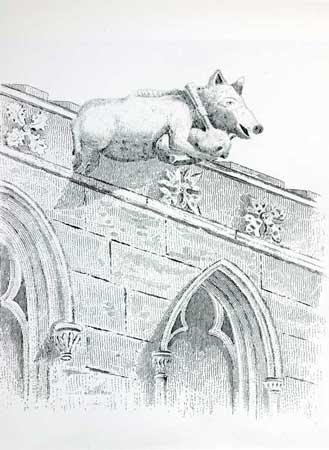 Postcard of Pig as gargoyle playing a bagpipe.