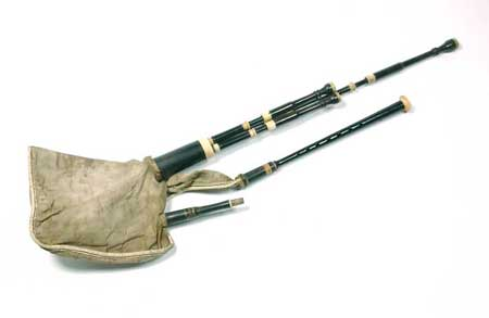 Postcard of Set of bellows-blown Lowland Scottish bagpipes with chanter and drones.