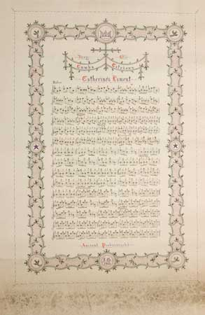 Postcard of Manuscript and illuminated Ancient Piobaireachd to the tune of Catherine's Lament.