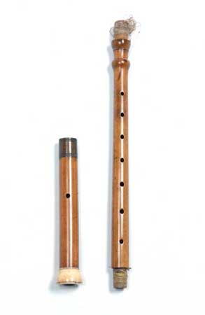 Postcard of Bagpipe chanter with detachable foot joint for the Pastoral pipe.