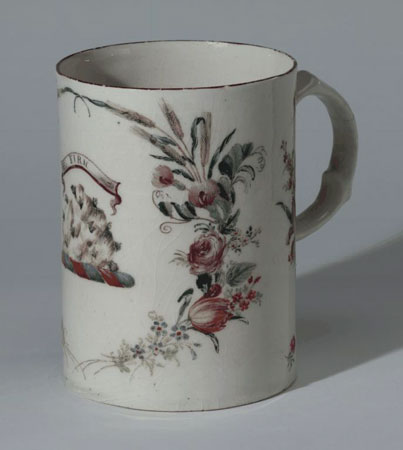 Postcard of Porcelain mug made at West Pans, East Lothian.