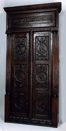 Postcard of Cabinet of carved oak.