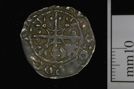 Postcard of Coin (reverse), penny, from reign of Malcolm IV ('Canmore').