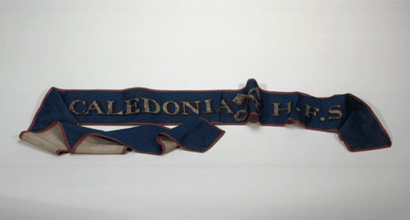 Postcard of Silk sash of the Caledonia Friendly Society.