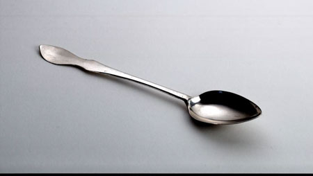 Postcard of Silver teaspoon made in Greenock.