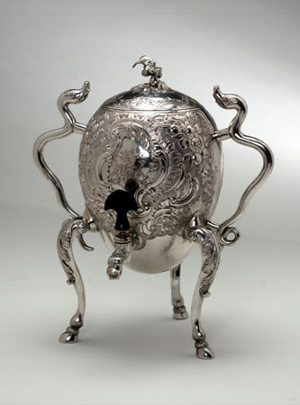 Postcard of Hot-water urn of silver, made in Edinburgh.