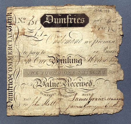 Postcard of Banknote, One guinea, issued by Dumfries Commercial Bank.