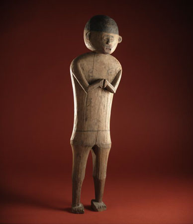 Postcard of Ancestor figure, representing man who had died around AD 1800.